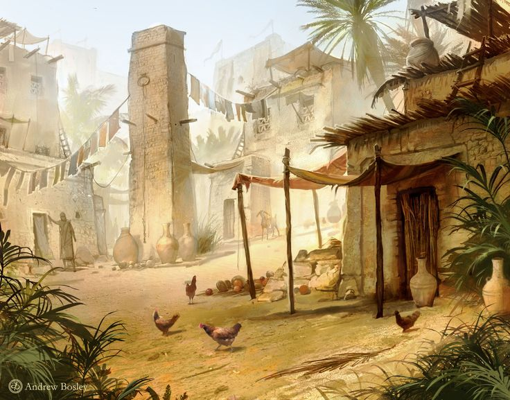ArtStation - Egyptian Village, Andrew Bosley