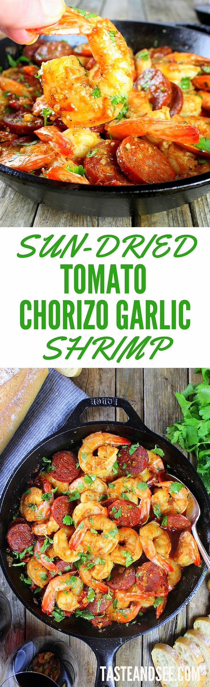 Sun-Dried Tomato Chorizo Garlic Shrimp… bursting with flavor & so ...