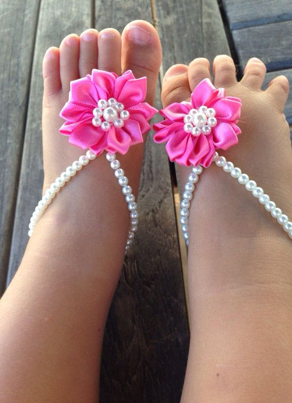 Baby barefoot sandals baby girls jewelry baby shoes by Aupetitpied