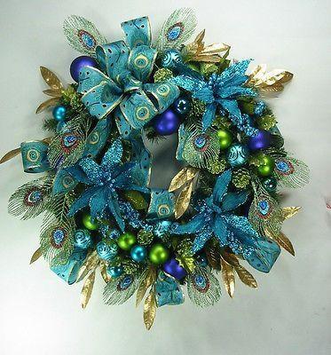 Peacock Blue Christmas Wreath by Ed The Wreath Guy | eBay by erica