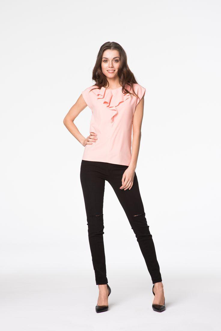 Elegancka bluzka w łososiowym kolorze