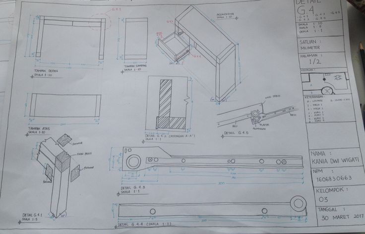 Gambar Detail Meja #architecture #detail #desk #section #elevation #draw #interior #furniture