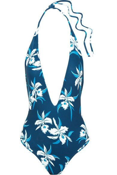 Mikoh - Hinano Floral-print Halterneck Swimsuit - Blue - large
