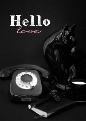 Hello Love fotografiekaart zwart - Vriendschap kaarten - Kaartje2go