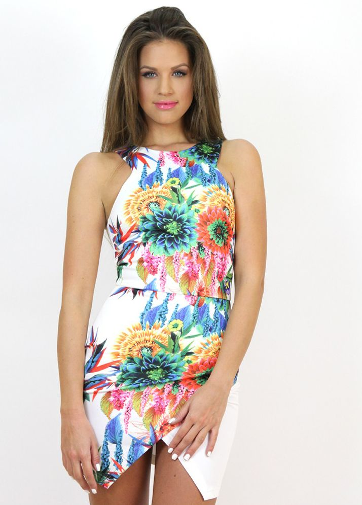 Exotic Print Floral Dress...a real treat for the brave one...:) Avilable at www.famevogue.ro.   #dress #floral #fashion #style #trends