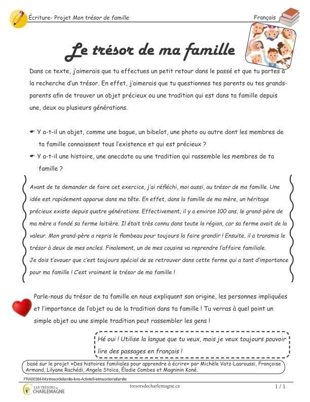 Mon Tresor De Famille Le Tresor De Ma Famille Ecriture French Language Lessons Language Lessons French Language