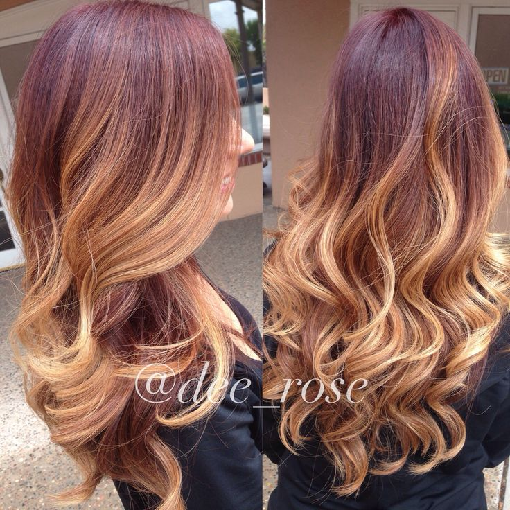 fall inspired color melt. red ombré. red violet undertone melted to a honey blonde.