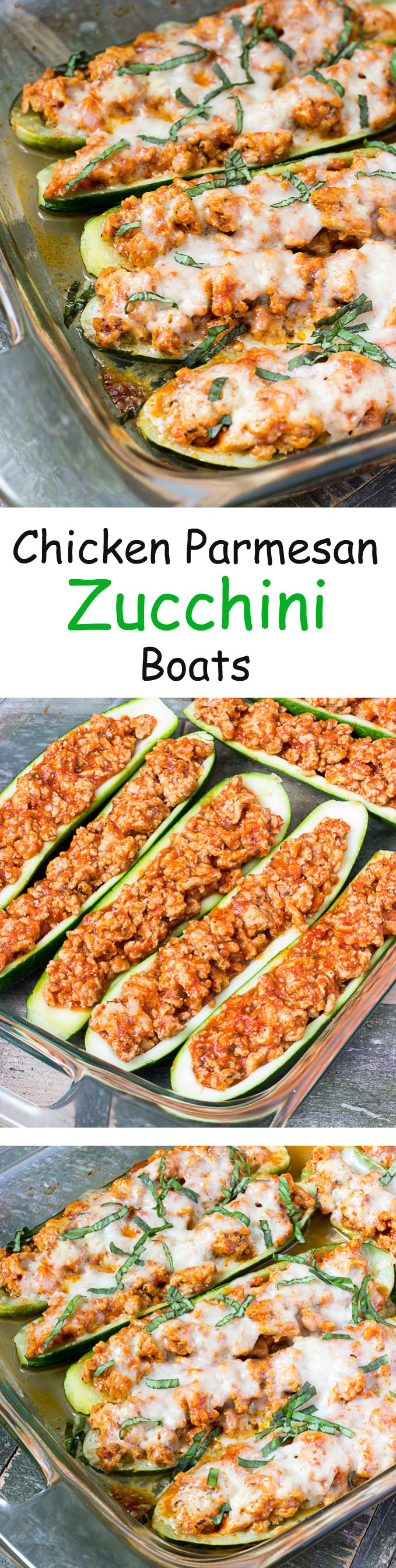 Chicken Parmesan Zucchini Boats - stuffed zucchini filled with chicken, pasta sauce, mozzarella, and parmesan cheese. #dinner