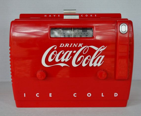 Coke Cola 1949 Cooler Radio Tape Player by OldMossyTreasures