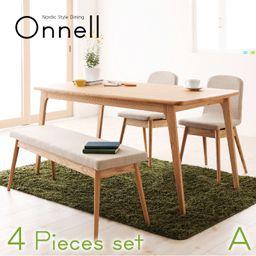 天然木北欧スタイルダイニング【Onnell】オンネル/4点セット Aタイプ(テーブル+ベンチ+チェア×2)【楽天市場】