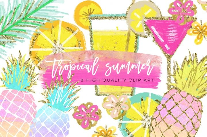 Tropical Clip Art, Watercolor Summer Clipart, Pineapple Summer Clipart, Beach Clipart, Lemon Clipart, Pineapple Clipart, signature drink By My Lovely Sister