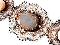 Romantic bracelet, crocheted, with corals....by Zita Felvinczy http://www.h-art.com.au/#!product/prd1/772409901/romantic-bracelet%2C-crocheted%2C-with-corals....