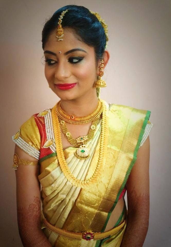 Love that makeup!  Traditional Southern Indian bride wearing bridal hair, saree and jewellery. Muhurat look. Makeup by Swank Studio. Find us at https://www.facebook.com/SwankStudioBangalore