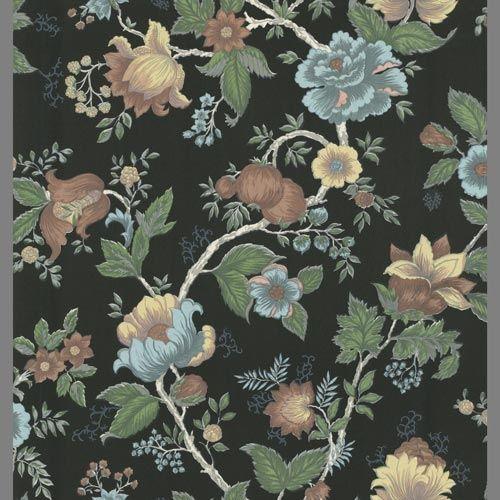 Dark green and light green leaf floral trail wallpaper: P8GR63401 | Floral wallpaper dining room