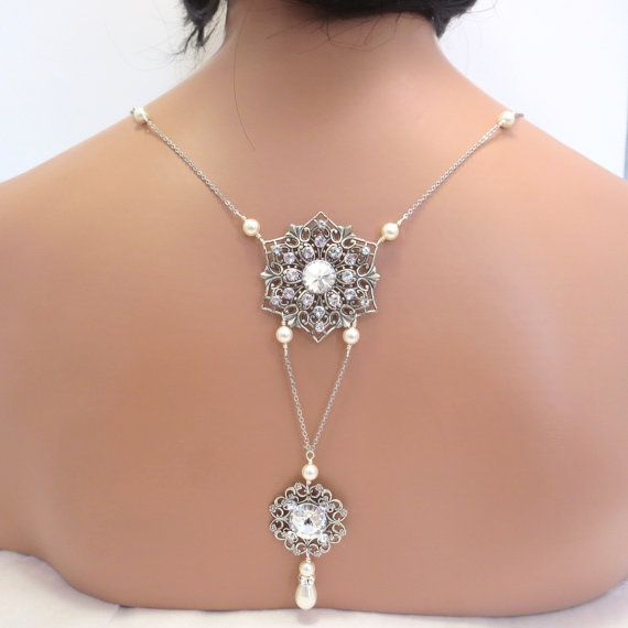 Bridal Backdrop Necklace Bridal Jewelry Crystal Back