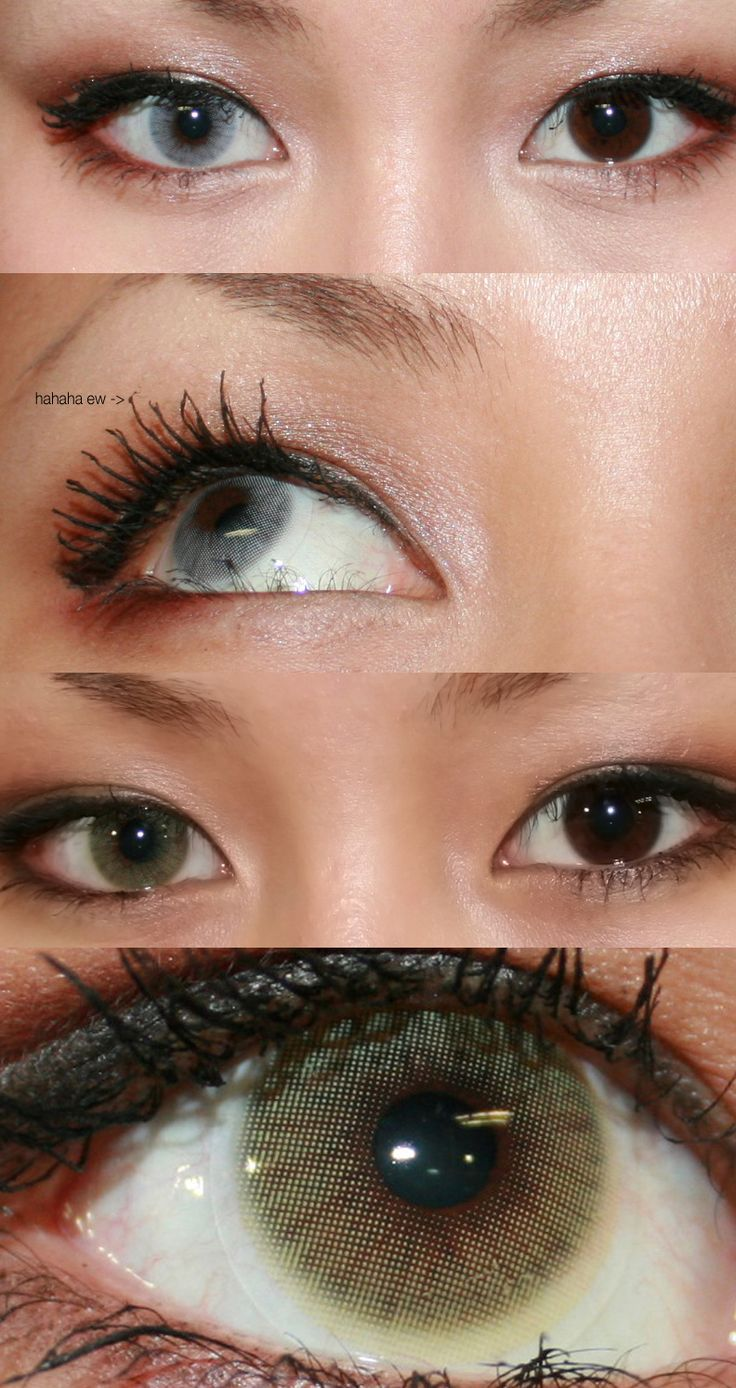 Brown Eye Makeup Tutorial: Hidrocor Lenses In Ice (Light Gray) And Mel