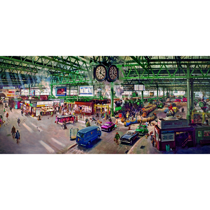 Under the Clock 636-Piece Jigsaw. A new puzzle showing Terence Cuneo's famous painting of Waterloo Station back in the day, filled with the hustle and bustle of busy commuters of a vintage ilk!