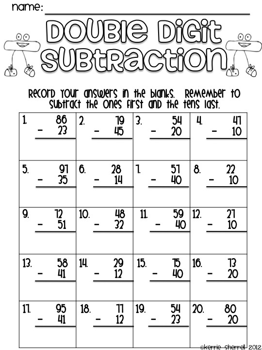 17 Best images about Double Digit Addition Subtraction on – Double Digit Subtraction Worksheets
