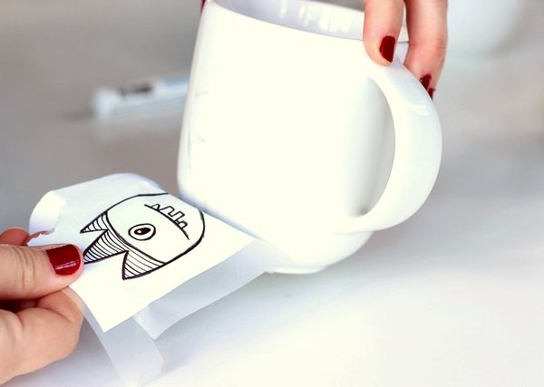 How to create a design on a porcelain mug...great fun for kids and adults alike!