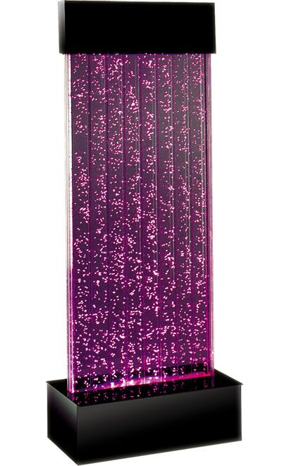 Our Water Panels provide illuminated bubbles rise slowly inside vertical chambers of optically clear acrylic, promoting relaxation. Interchangeable neon-fluorescent color strips highlight a prism spectrum of color throughout each chamber. Panels ship complete with pump and lighting.