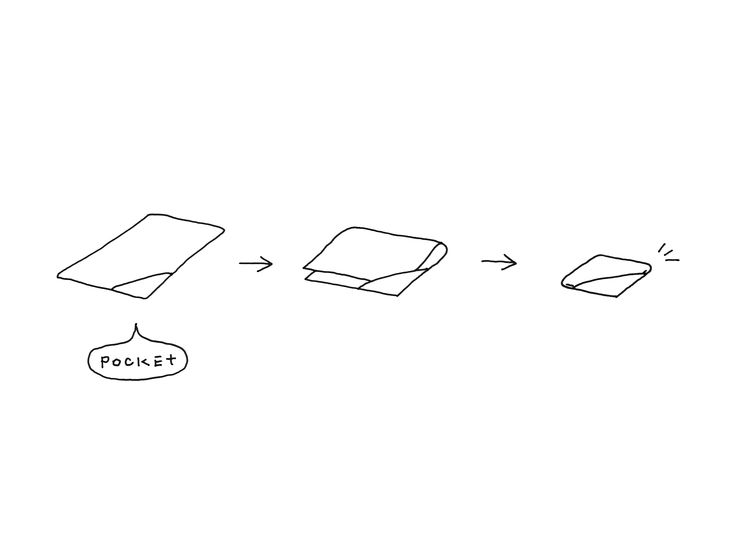 Adding a triangular pocket to one corner of a towel allows its congruent corners to be stored inside the pocket when folded, making for neater storage. The pocket holds the corners and folds together, so that the towel stays neat when placed in a bag and becomes a pillow, too, for impromptu naps. The towel-pocket comes in four sizes: a hand towel, a face towel, a bath towel and a large bath towel.