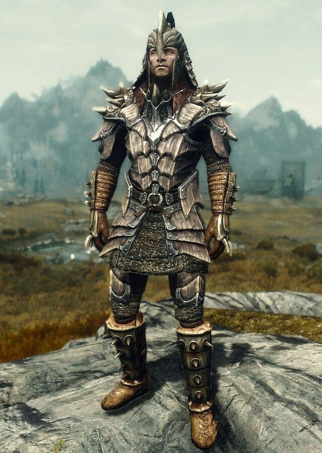 """Black Marsh Marauder"" by HistWarrior Dragonscale Armor Stormcloak Officer Boots and Bracers Orcish Helmet"
