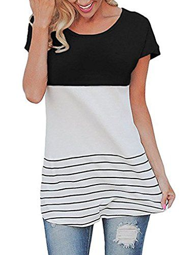 Sherosa Women's Spring Color Block Short Sleeve Tunic Tops Blouse(Black,S)  Special Offer: $13.89  322 Reviews Sherosa Women's Casual Color Block Lace Inset Short Sleeve T Shirt Tunic Tops Feature: Casual style short sleeve crewneck top with high low hem Pacthwork and back...