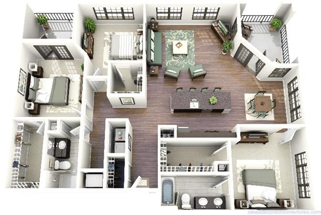 three bedroom apartment layout from crescentninthstreet