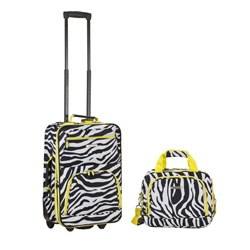 Rockland Expandable Lime Zebra 2-piece Lightweight Carry-on Luggage Set