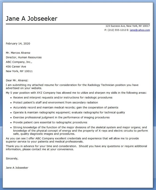 cover letter radiology