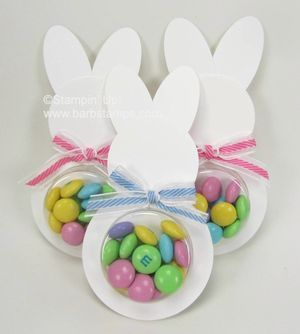 Fun and easy easter bunny treat.  www.barbstamps.com easter bunny punch art, easter candy