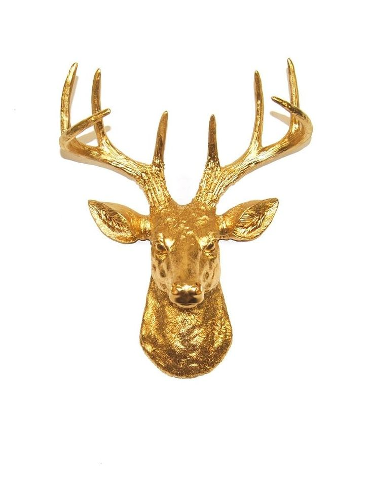 The Mini Franklin Mini Gold Resin Deer Head White Faux