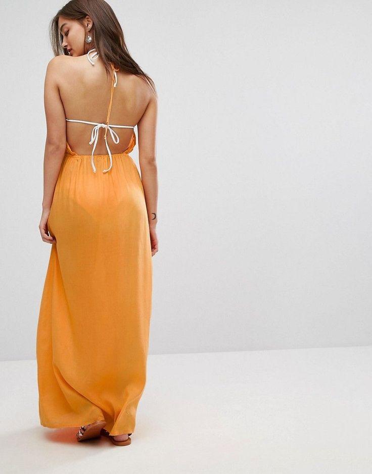 ASOS Woven Tie Front Maxi Beach Dress - Orange