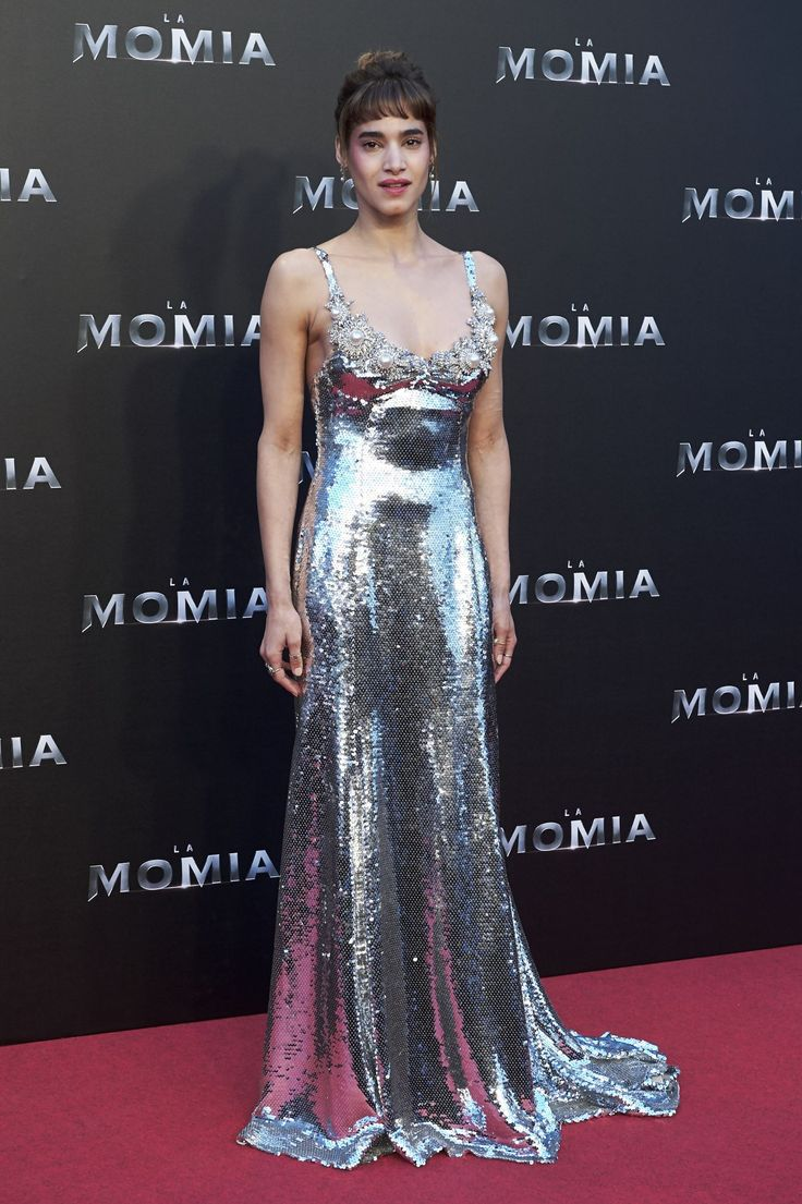 Sofia Boutella in custom Miu Miu at The Mummy premiere in Spain
