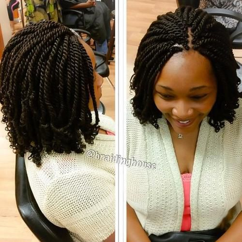short black twists with curly ends