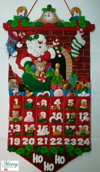 "Bucilla ""Must be Santa Advent Calendar"" customer photo emailed to MerryStockings. Looks great!"
