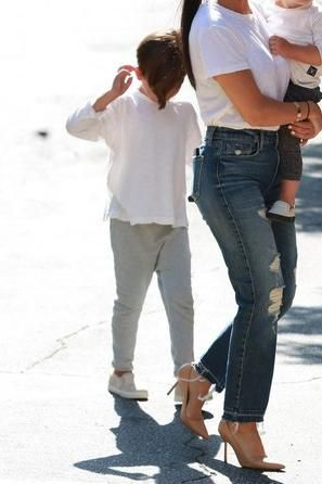 Mason Disick wearing Akid Liv Slip-Ons in Tan Pony and Nununu Raw Pants