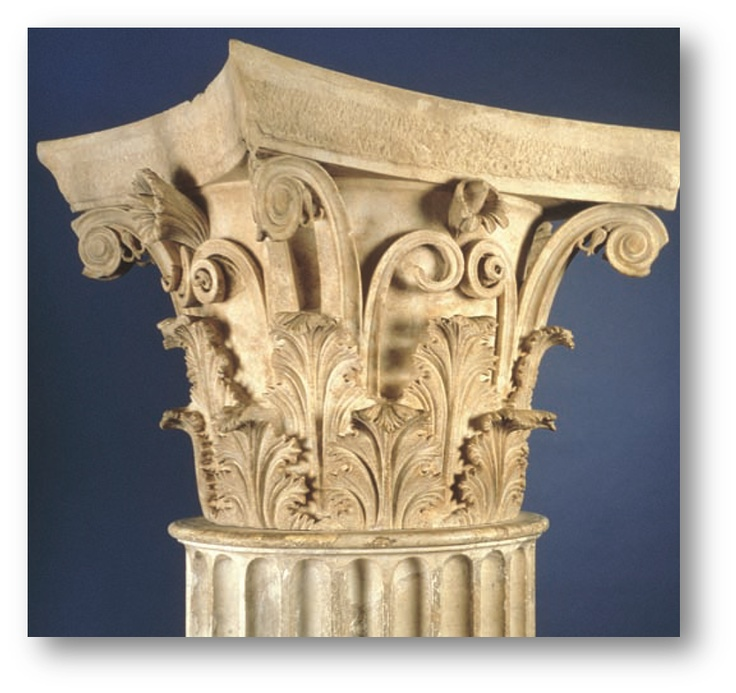 [Polykleitos the Younger,Corinthian capital,ca.350BCE,from the tholos, Epidauros,Greece,Late Classical Period]It is an ornate architecture  with tendrils and flowers emerging from the double row of acanthus leaves,wrapping around the echinus.It has similar appearance on four sides without distinct corners like the Ionic order or fixed place for metopes and triglyphs like the Doric order.Thus, It has much flexible rules for modifying proportions and details.(Klein144 and Oxford Art Online)