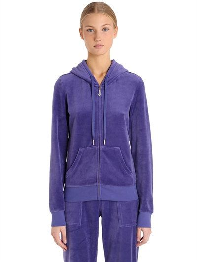 JUICY COUTURE Embellished Zip-Up Velour Sweatshirt, Purple. #juicycouture #cloth #sweatshirts