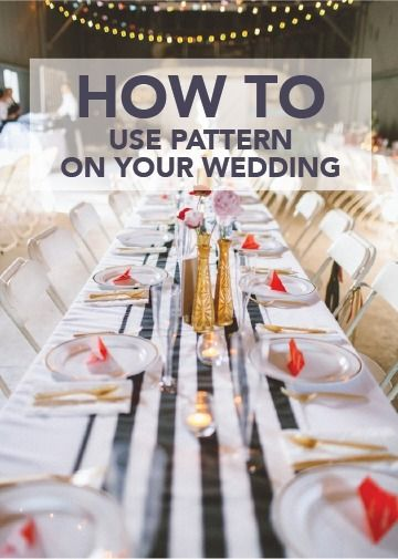 Choose bold stripes as an accent to your unique DIY wedding centerpieces! Along with beautiful barn lights, your outdoor wedding decor will be one for the books.