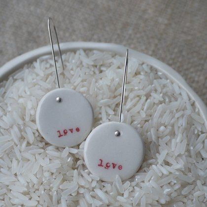 Mrs Peterson Pottery - Love Porcelain Earrings