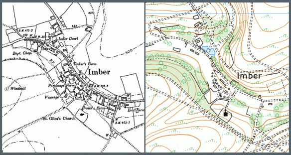 The lost village of Imber, Wiltshire (County series 1:10,000)