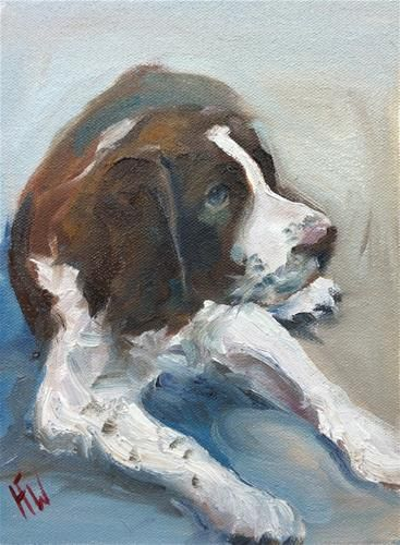 "Daily Paintworks - ""Springer Pup"" - Original Fine Art for Sale - © H.F. Wallen"