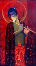Krishna With Flute Red