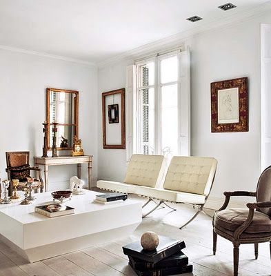 Four Reasons Why This Room Works Mix Of Old And New The Two White Barcelona  Chairs U0026 Coffee Table Against The Louis Chair, Console Tabl.