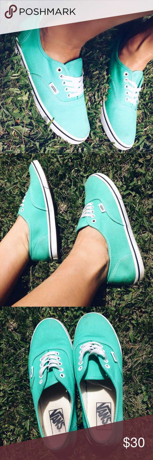 Teal vans.only worn a couple of times There is a small dirt spot on one of the toes that will come out with stain remover but I will wash them thoroughly before shipping. PRICE FINAL. NO OFFERS WILL BE ACCEPTED. Vans Shoes Sneakers