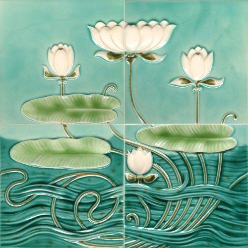 art nouveau water lily wall tile panel art nouveau decor. Black Bedroom Furniture Sets. Home Design Ideas