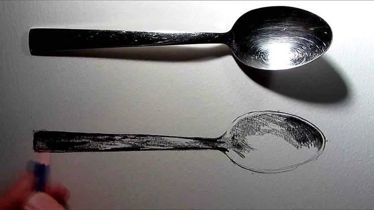 How to draw a spoon using a 4B pencil to create a strong tonal contrast.