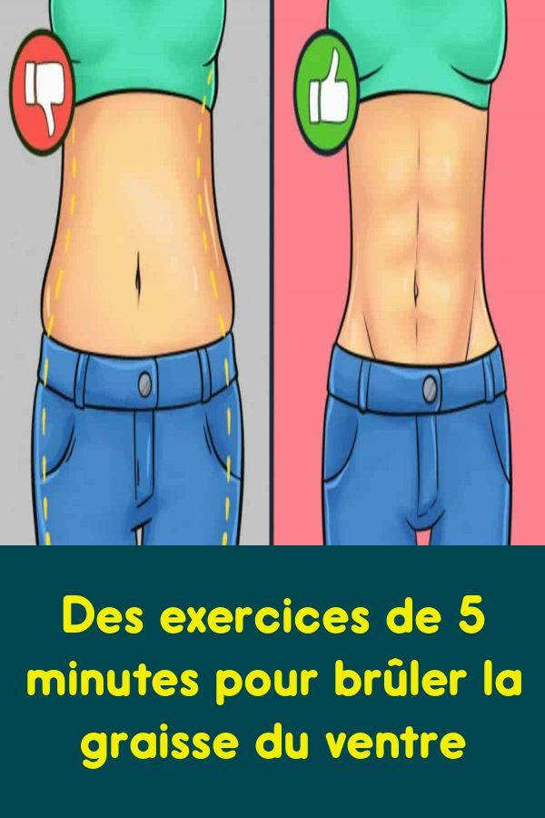 Des exercices de 5 minutes pour brûler la graisse du ventre   Ventre, Exercices pour perdre du ...