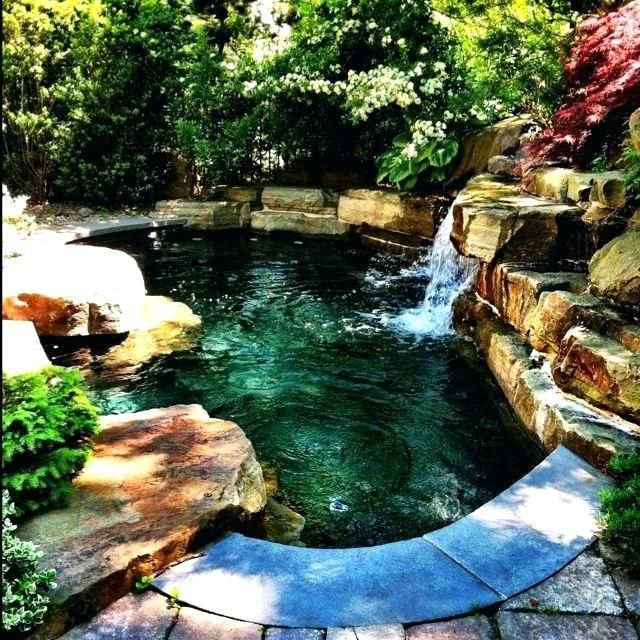 Small Natural Pool Designs Super Cool Mini Pool With Waterfall Awesome Pool Designs Small Natur Backyard Pool Landscaping Pool Landscaping Small Backyard Pools